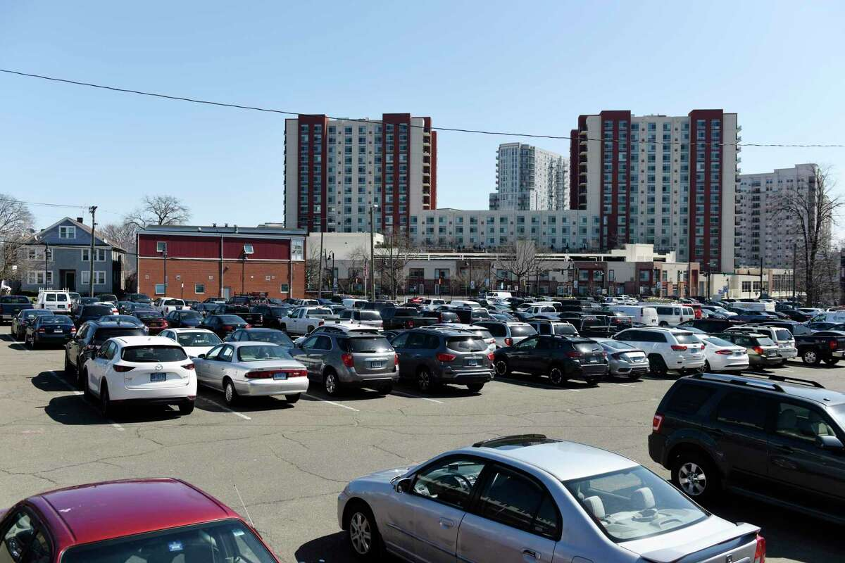 Cars are parked in a public lot on Washington Boulevard in Stamford, Conn. Monday, March 22, 2021. Proposed mobility changes have been presented before the zoning board and could reconfigure traffic, bikes, and parking throughout the city.