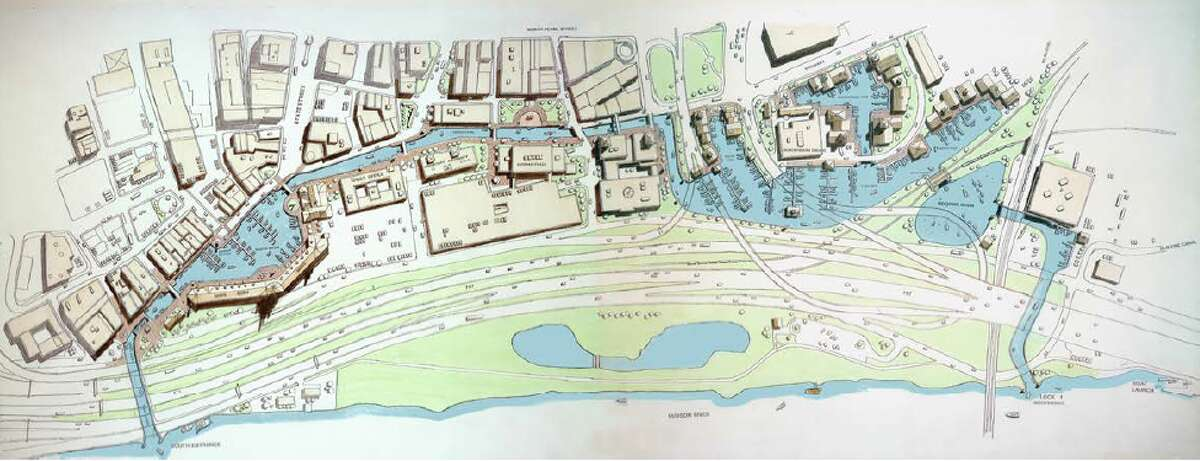 (Provided image) A map of Len Tantillo's plan for a canal that would begin near the SUNY administration building and meander along Broadway to around the Central Warehouse. Letter writer says, 'In short, it would make too much sense.'