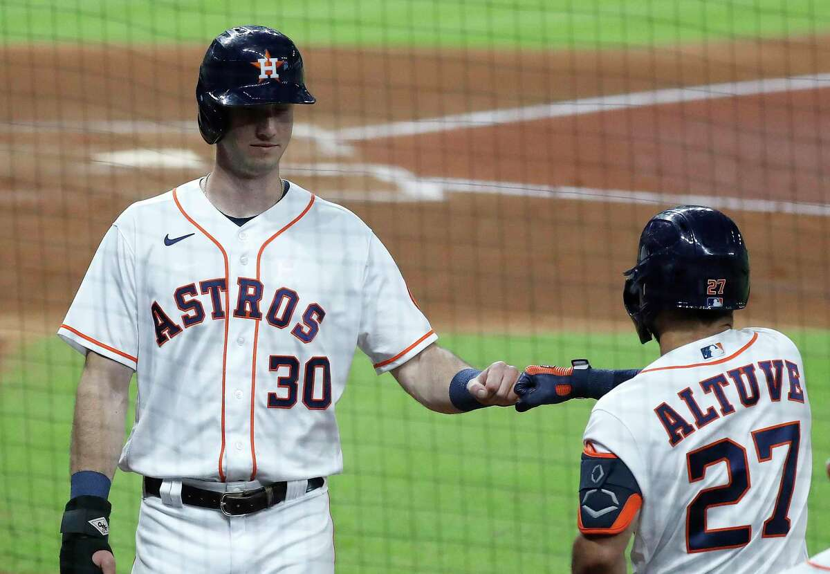 The Astros hope the progression of outfielder Kyle Tucker (30) meshes with a renaissance for Jose Altuve in 2021.
