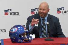 West Brook's new football coach Chuck Langston addresses a gathering at the BISD administration building after being announced as the program leader Friday. Photo made Friday, March 26, 2021 Kim Brent/The Enterprise