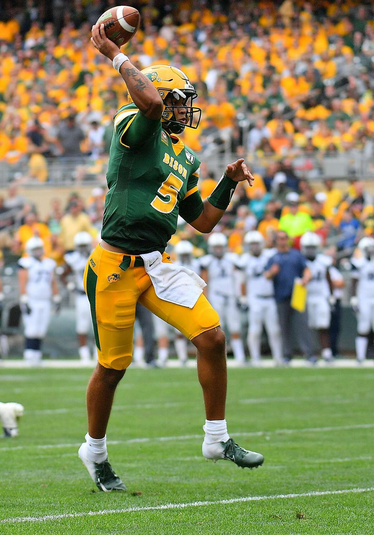 MINNEAPOLIS, MINNESOTA - AUGUST 31: Quarterback Trey Lance #5 of the North Dakota State Bison passes against the Butler Bulldogs during their game at Target Field on August 31, 2019 in Minneapolis, Minnesota. (Photo by Sam Wasson/Getty Images)