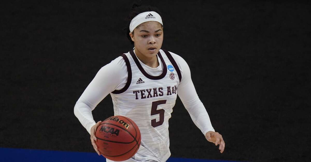 Texas A&M guard Jordan Nixon (5) during the first half of a college basketball game against the Iowa State in the second round of the women's NCAA tournament at the Alamodome in San Antonio, Wednesday, March 24, 2021. (AP Photo/Eric Gay)