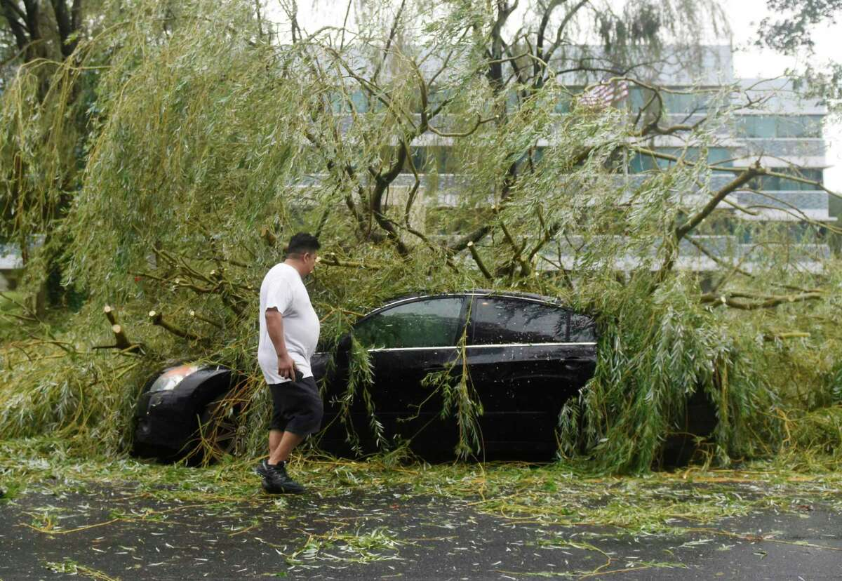A driver surveys the damage to his vehicle after a tree fell on it while stopped at a red light at 500 W. Putnam Ave. in Greenwich, Conn. Tuesday, Aug. 4, 2020. The National Weather Service issued a tropical storm warning, flash flood watch, and tornado watch as Tropical storm Isaias passed through Connecticut.