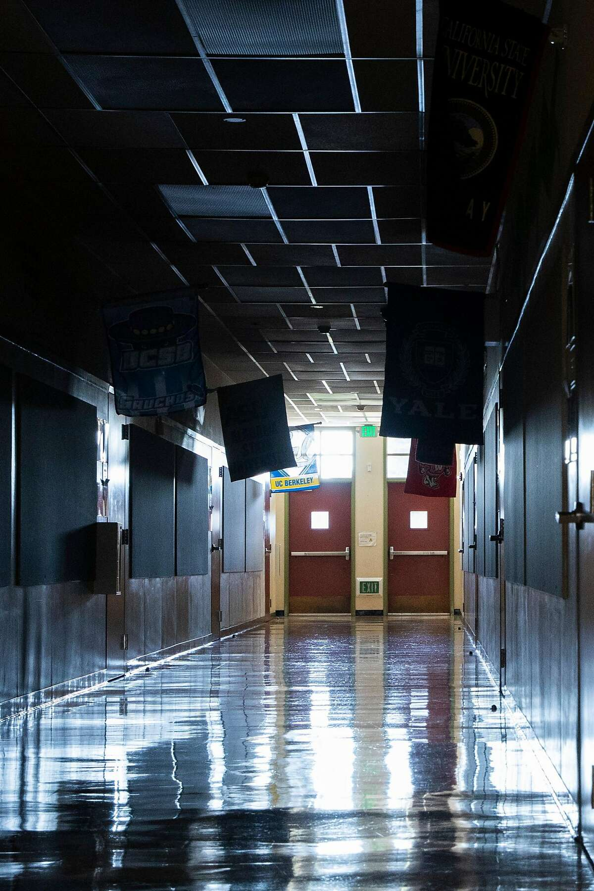 The dark halls of Garfield Elementary School in Oakland, Calif. Tuesday, March 23, 2021. Garfield Elementary School will partially re-open for students in grades kindergarten through second grade beginning Tuesday, March 30.