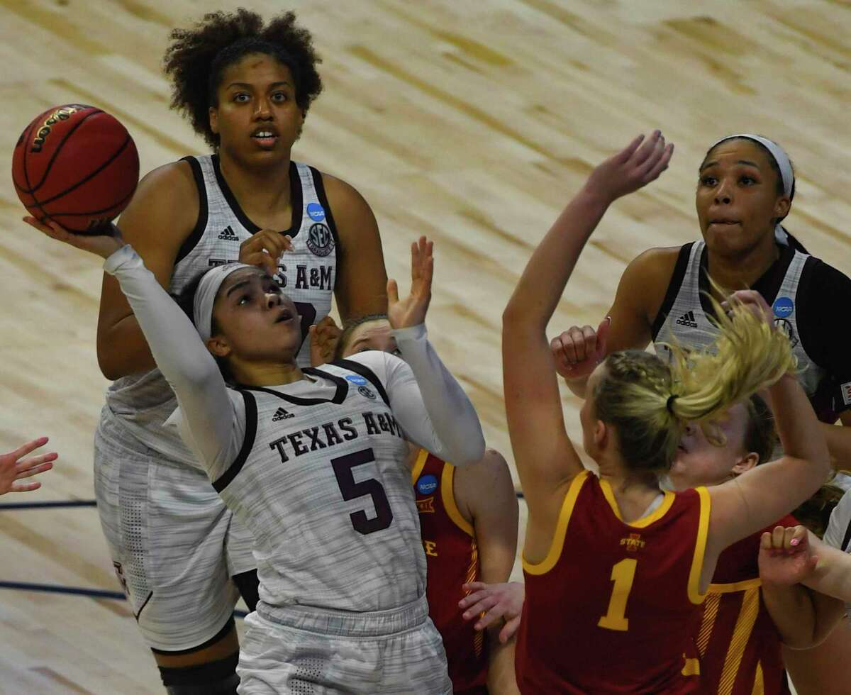 Texas A&M guard Jordan Nixon shoots and scores against Iowa State during the team's 84-82 overtime victory over in the NCAA Women's Basketball Championship tournament to advance to the Sweet 16 in the Alamodome on Wednesday, March 24, 2021.
