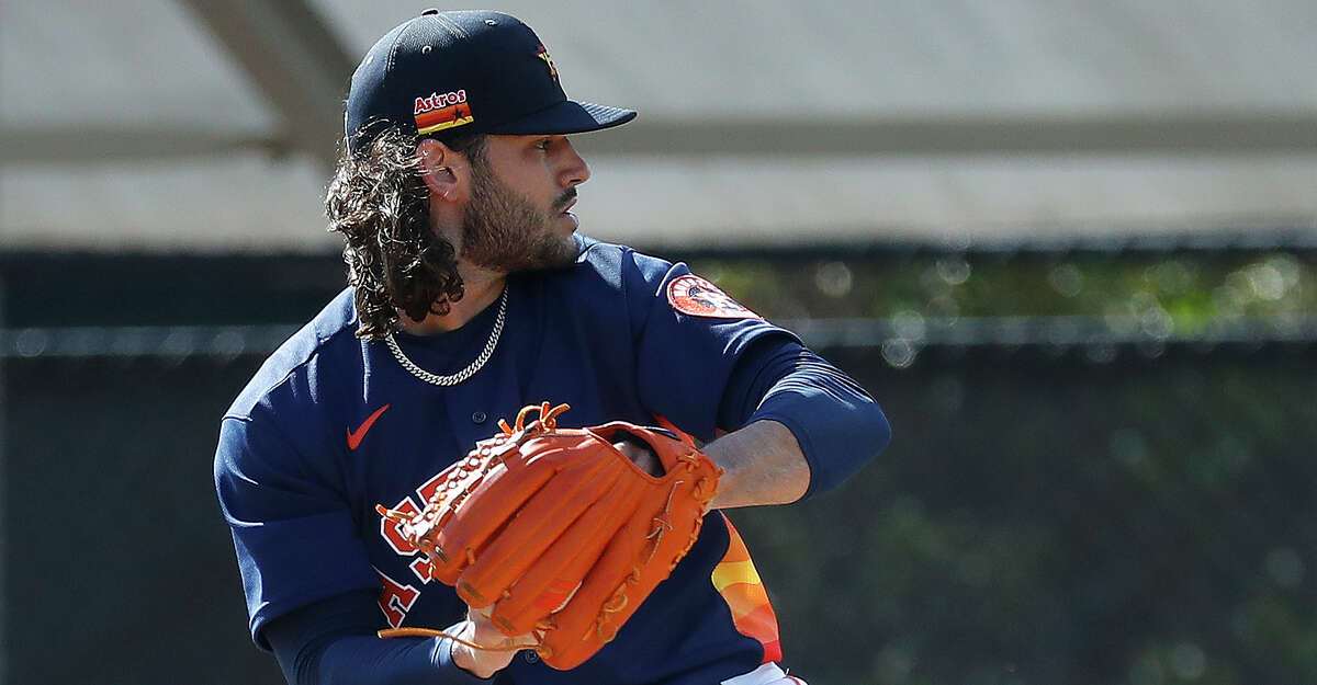 Houston Astros pitcher Lance McCullers Jr. (43) during spring training workouts for the Astros at Ballpark of the Palm Beaches in West Palm Beach, Florida, Saturday, February 27, 2021.