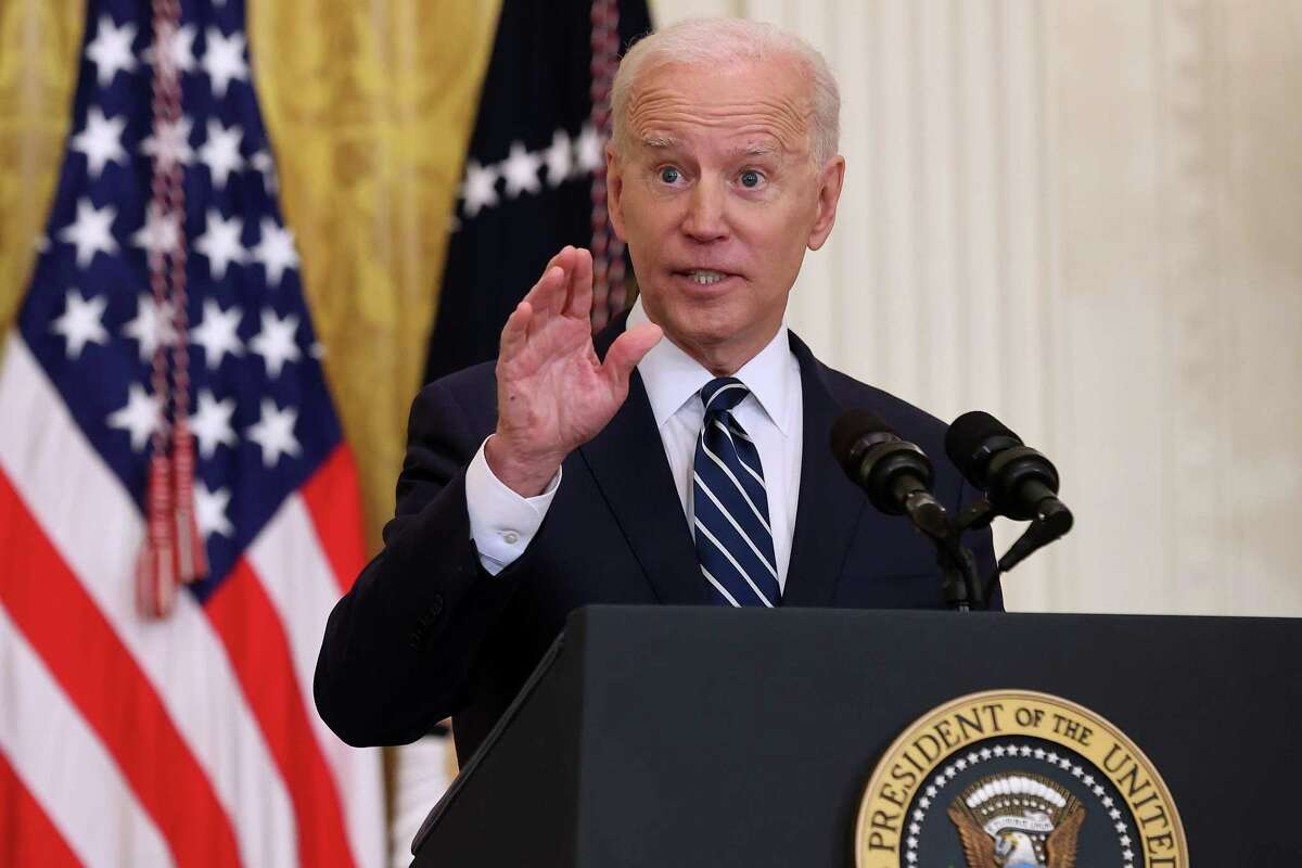 President Joe Biden talks to reporters during the first news conference of his presidency in the East Room of the White House on March 25, 2021 in Washington, DC. On the 64th day of his administration, Biden, 78, faced questions about immigration, gun control and other subjects.
