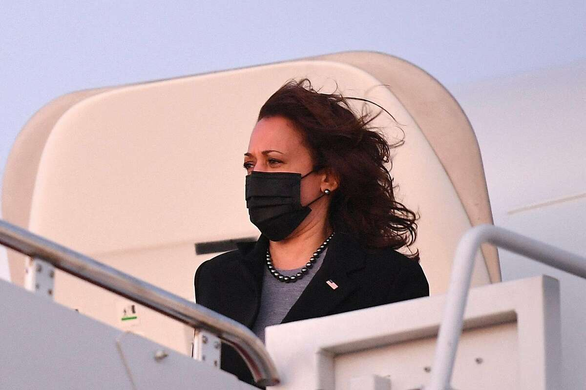 Vice President Kamala Harris exits Air Force Two upon arrival at Andrews Air Force Base in Maryland. She has begun to take her own stage as she travels.