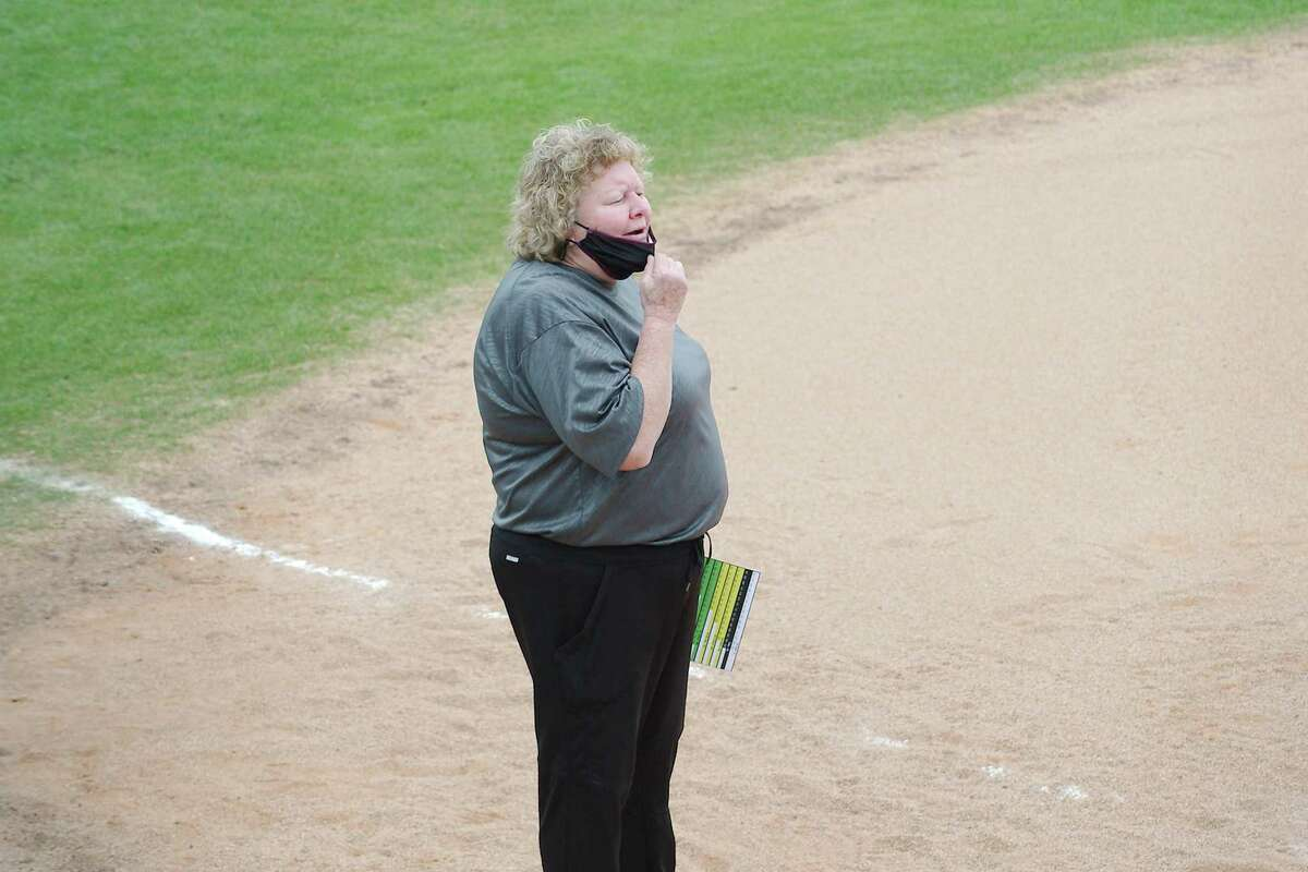 Pearland softball coach Laneigh Clark watched her team pick up wins over Manvel and Shadow Creek Friday.