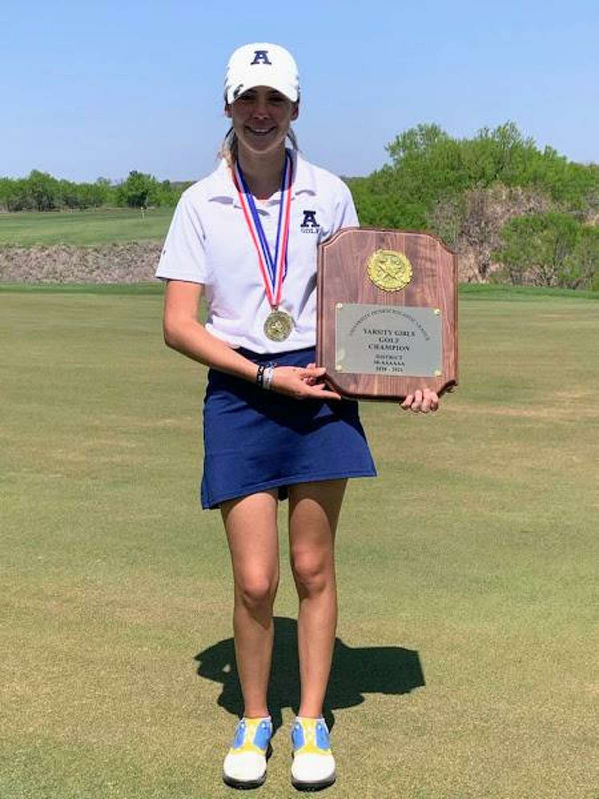 Catherine Flores won the District 30-6A individual title Friday shooting a two-day total of 159 to win by 11 strokes.