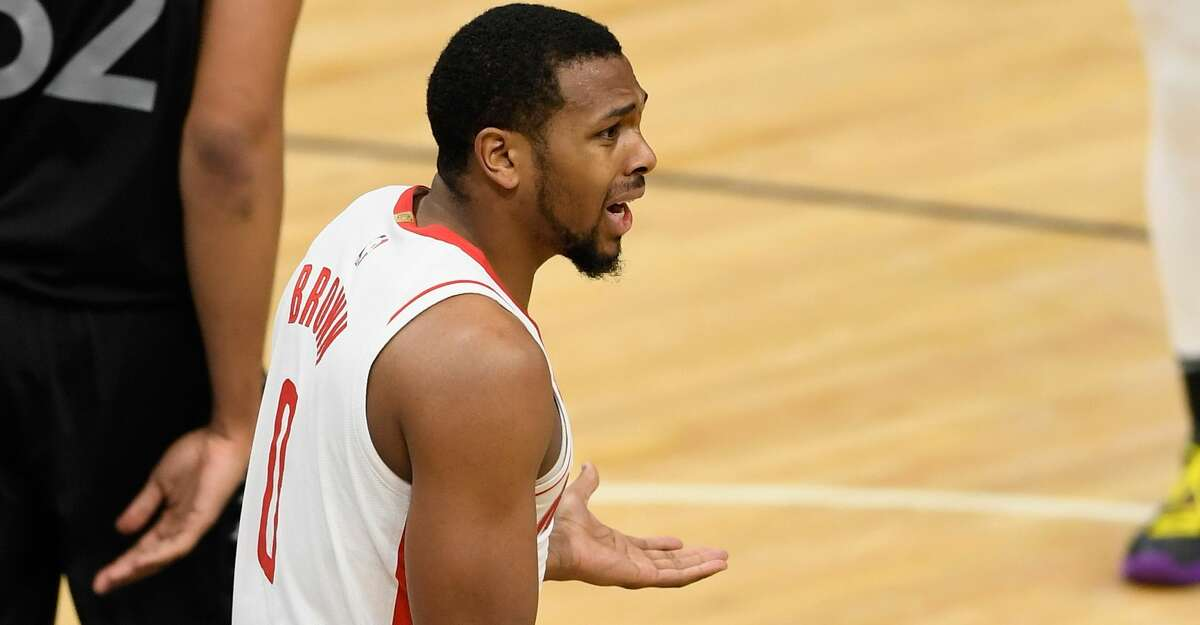 Sterling Brown #0 of the Houston Rockets reacts to being called for a foul against the Minnesota Timberwolves during the fourth quarter of the game at Target Center on March 26, 2021 in Minneapolis, Minnesota. The Timberwolves defeated the Rockets 107-101.(Photo by Hannah Foslien/Getty Images)