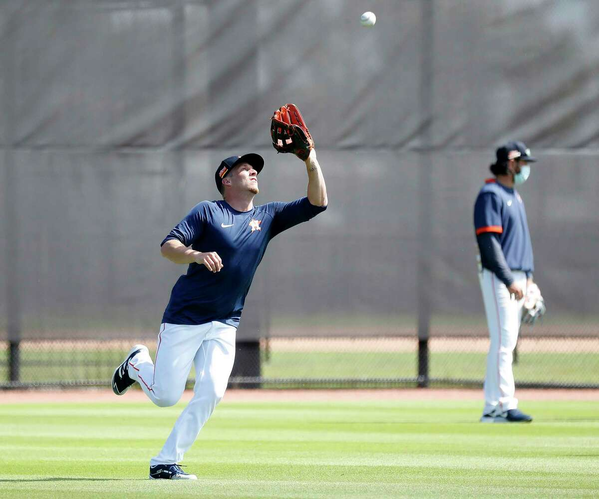 Houston Astros outfielder Myles Straw (3) during the second day of full-squad workouts for the Astros at Ballpark of the Palm Beaches in West Palm Beach, Florida, Tuesday, February 23, 2021.