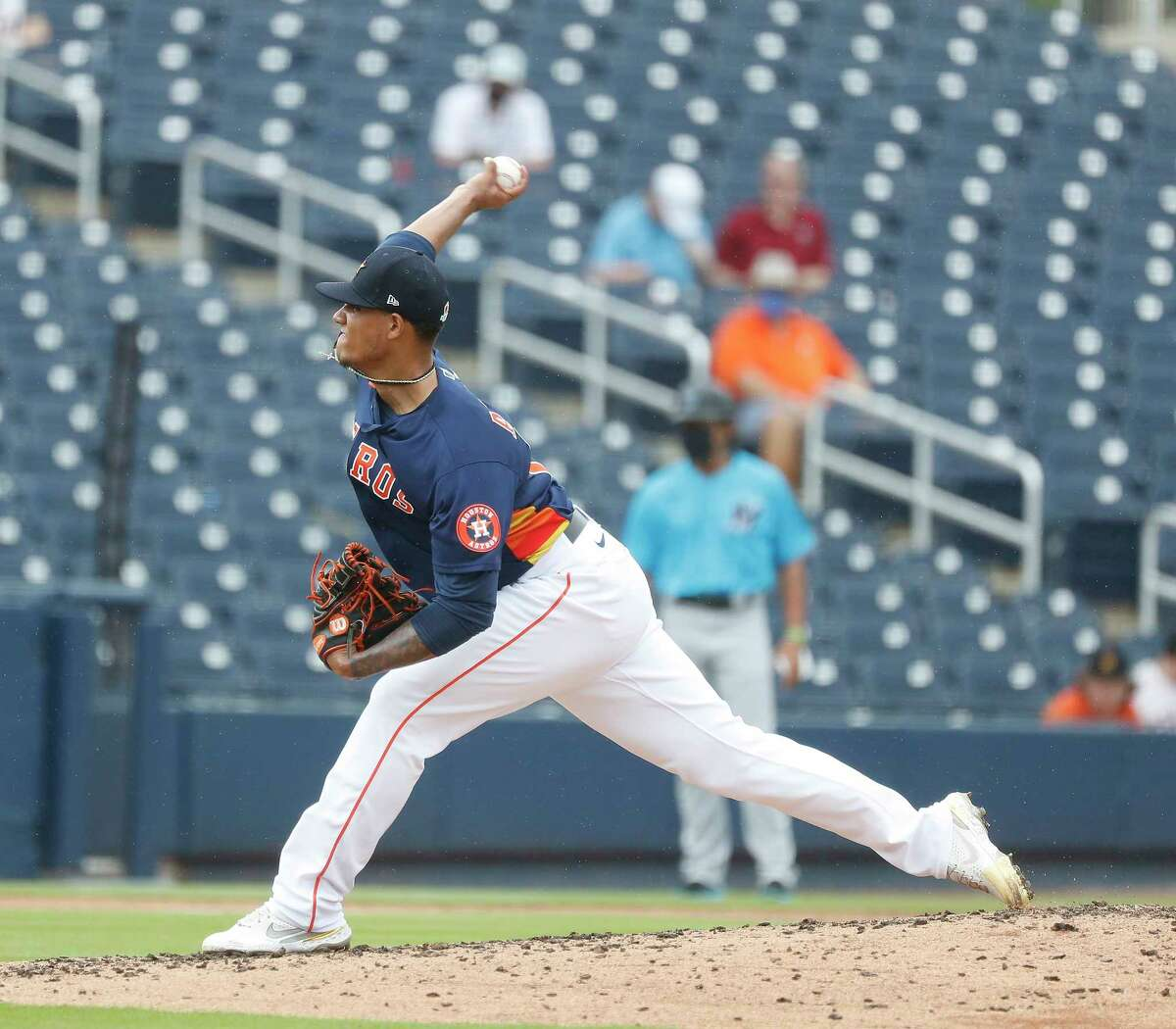 Houston Astros pitcher Bryan Abreu (66) pitches during the fourth inning of an MLB spring training game at Ballpark of the Palm Beaches in West Palm Beach, Florida, Sunday, February 28, 2021.