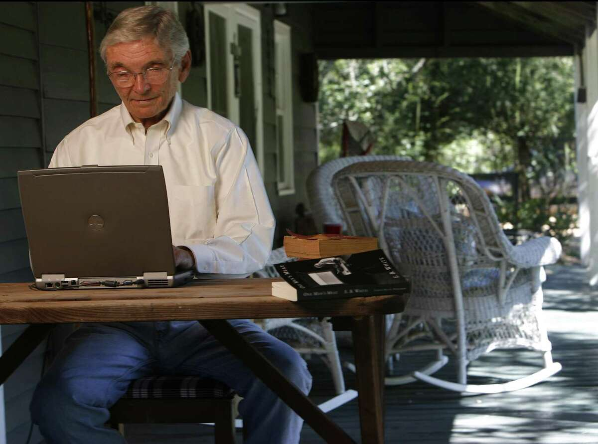 Leon Hale, longtime columnist with the Houston Chronicle, photographed on the infamous front porch, which was immortalized in numerous columns, in Winedale, Texas, Monday September 25, 2006. (Karen Warren/ Houston Chronicle)