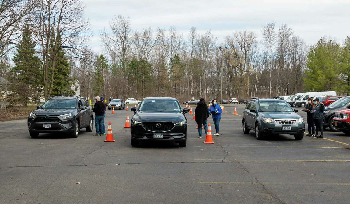 A steady stream of cars drove thru the 11th Annual Times Union Table Hopping Mac-n-Cheese Bowl to benefit the Regional Food Bank of Northeastern New York on Saturday, March 27, 2021. (Jim Franco/Special to the Times Union.)