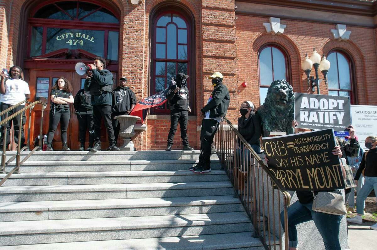 Saratoga Black Lives Matter activist Lexis Figuereo speaks in front of city hall on Saturday, Mar. 27, 2021, in support of the 50 points plan proposed by the Police Reform Task Force of Saratoga Springs, N.Y. (Jenn March, Special to the Times Union )