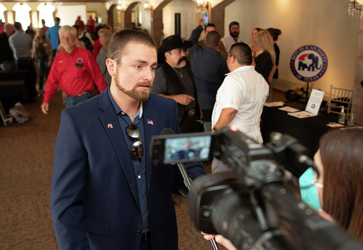 Webb County Republican Party Chair Tyler Kraus speaks with reporters about Republican Party ideas, Friday, Mar. 26, 2021 at San Agustin Ballroom during a meeting of the Republican Party of Texas.