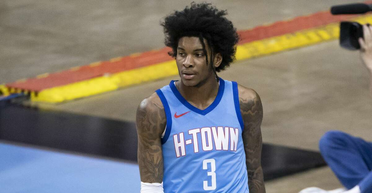 Houston Rockets guard Kevin Porter Jr. (3) looks down court during the second quarter of an NBA game between the Houston Rockets and Oklahoma City Thunder on Sunday, March 21, 2021, at Toyota Center in Houston, TX.