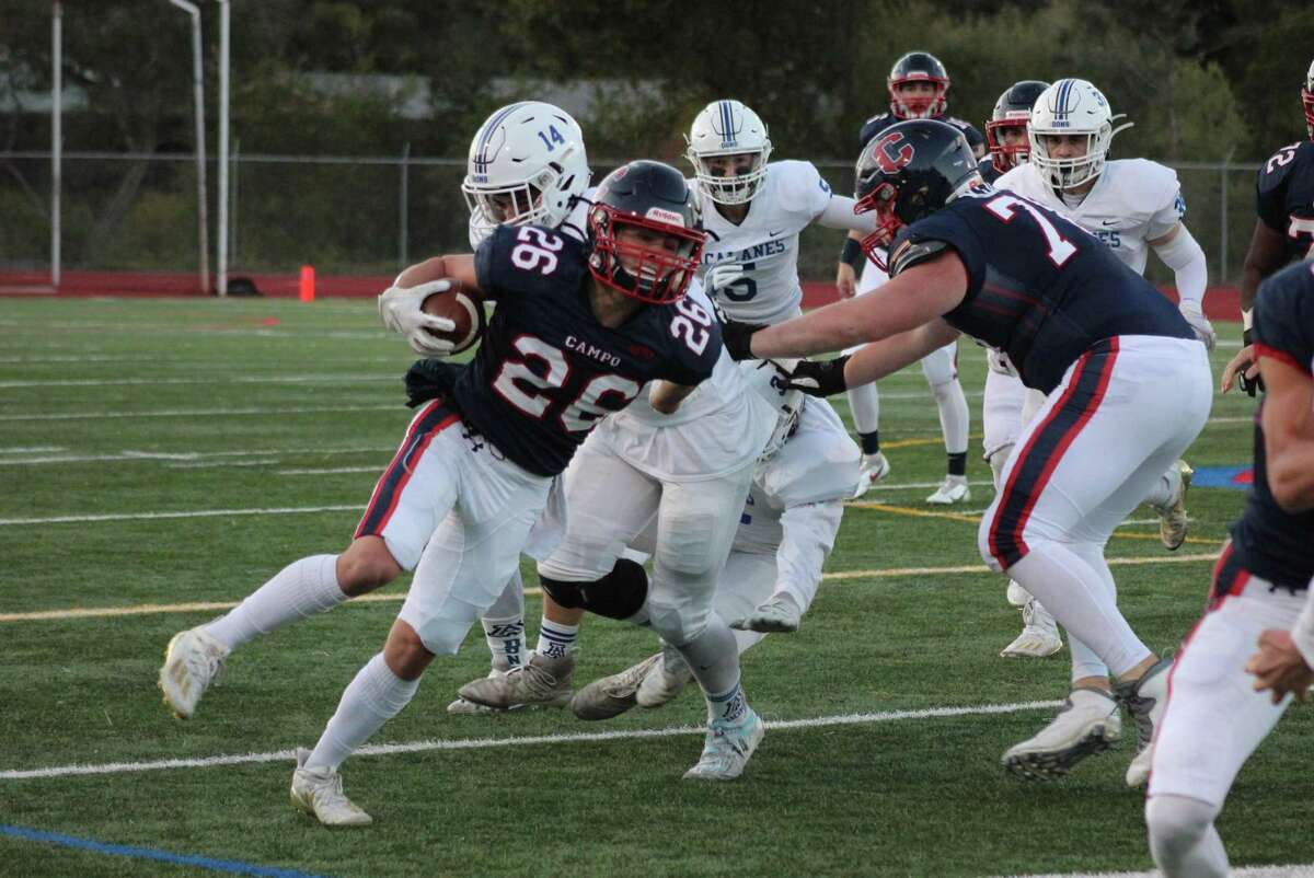 Campolindo-Moraga running back Dillan Thoms carries the ball during the Cougars win over Acalanes-Lafayette on Friday night.