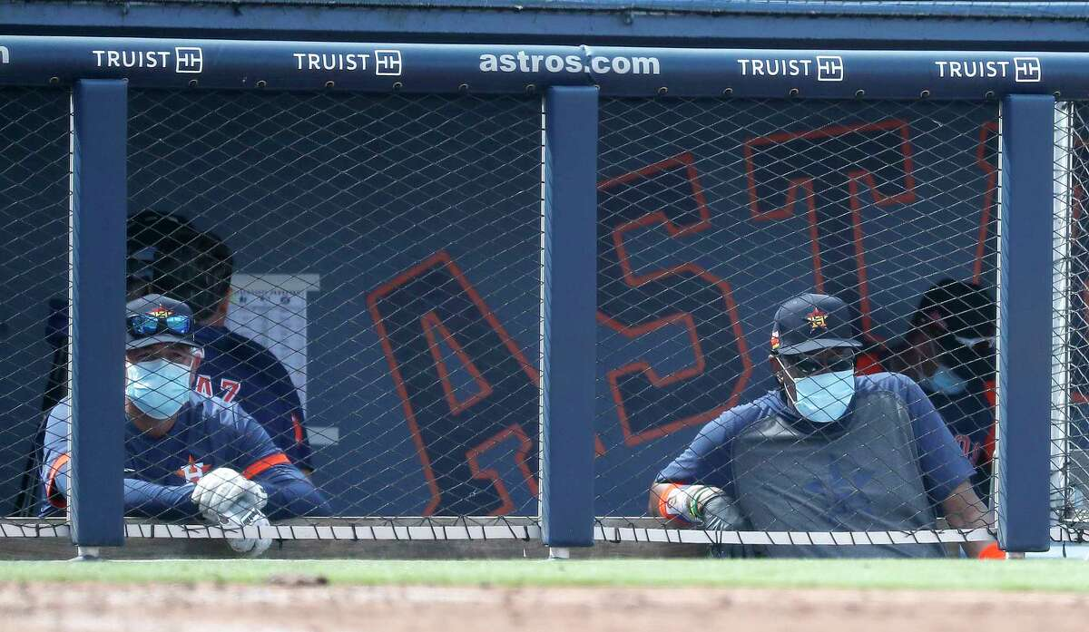 Houston Astros manager Dusty Baker in the dugout during the fourth inning of an MLB spring training game at Ballpark of the Palm Beaches in West Palm Beach, Florida, Sunday, February 28, 2021.