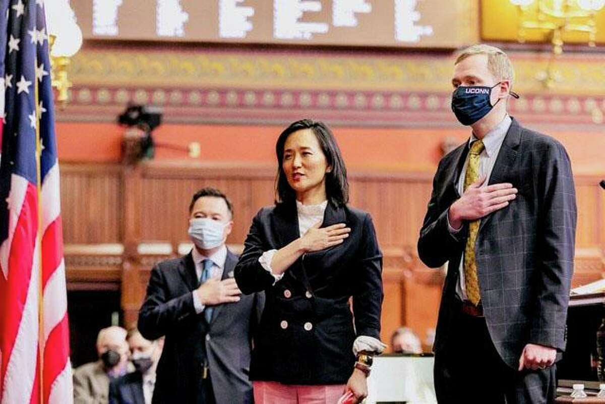 State Rep. Kimberly Fiorello (R-Greenwich, Stamford) leads the Connecticut House of Representatives in reciting the Pledge of Allegiance in Hartford, Connecticut, Thursday, March 25, 2021.
