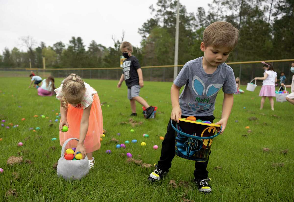 More than 20,000 eggs were spread throughout four softball fields for kids to grab.