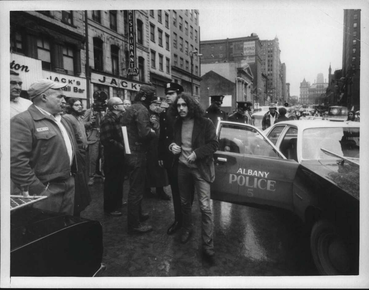 Vietnam War Protest Albany, April 30, 1971. Taking a man to paddy wagon. April 30, 1971 (Bob Richey/Times Union Archive)
