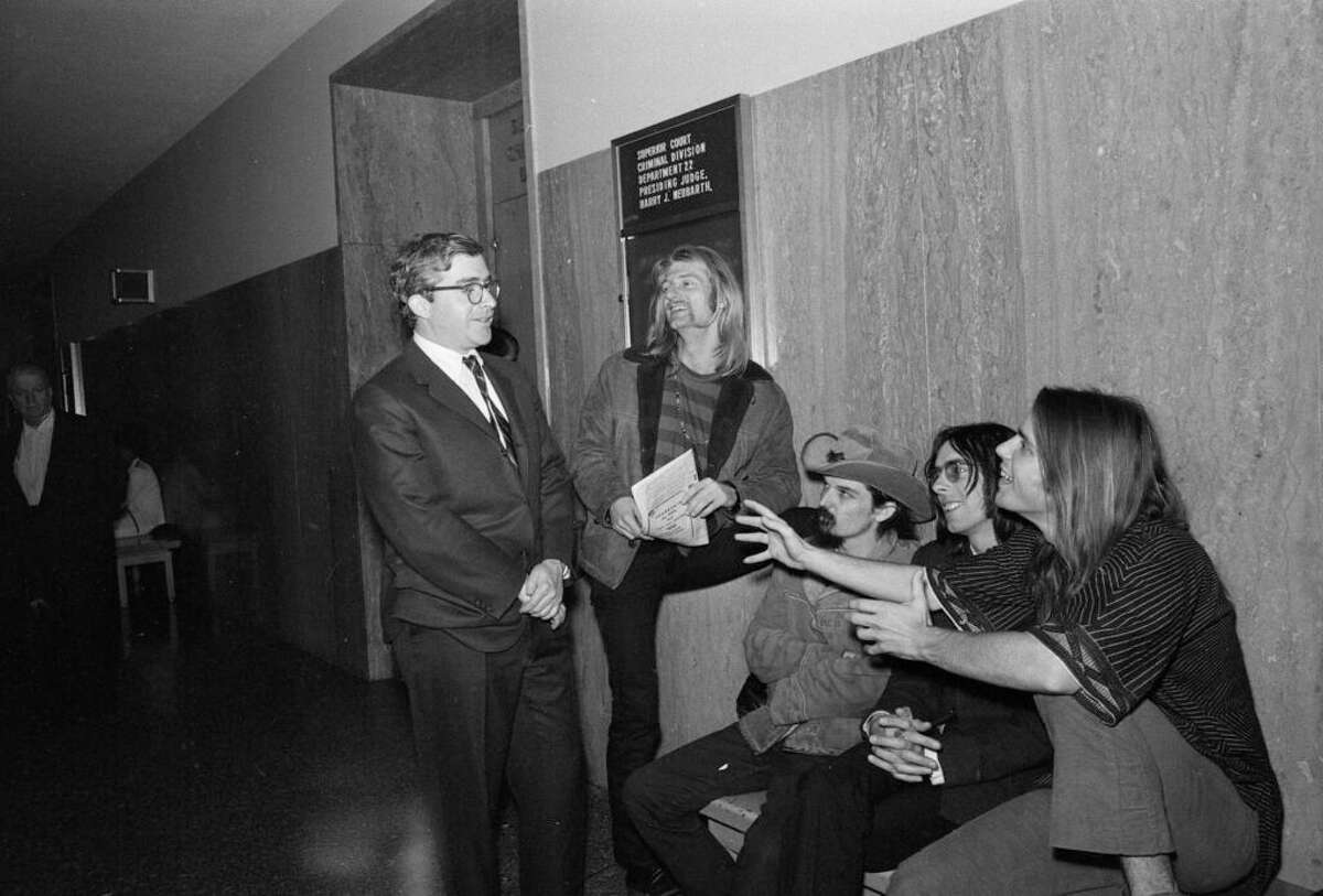 Attorney Brian Rohan, left, chats with the Grateful Dead on June 23, 1968 at their sentencing in San Francisco Superior Court for possession of marijuana.