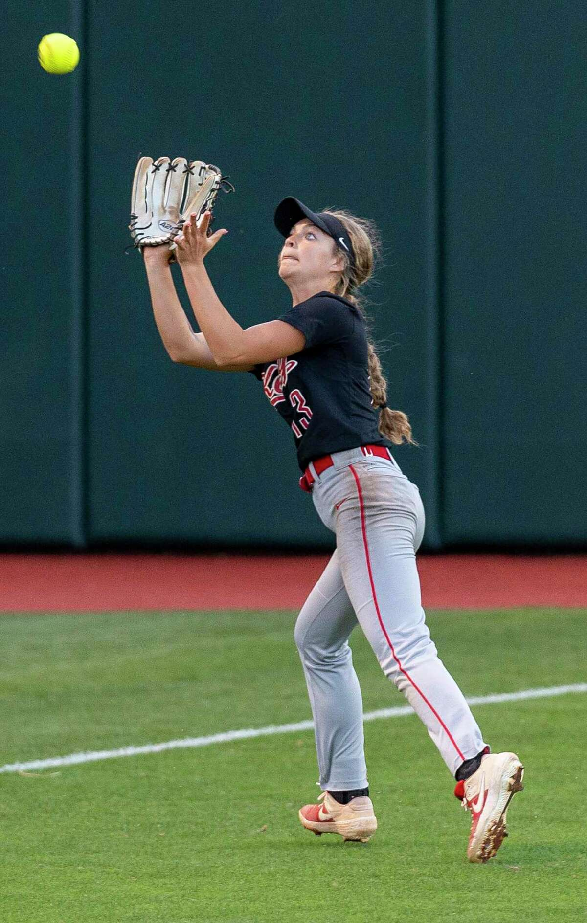 Katy left fielder Kailey Wyckoff (13) makes the Keller out during the UIL Class 6A state softball semifinal in Austin, Friday, May 31, 2019.(Stephen Spillman / for Houston Chronicle)