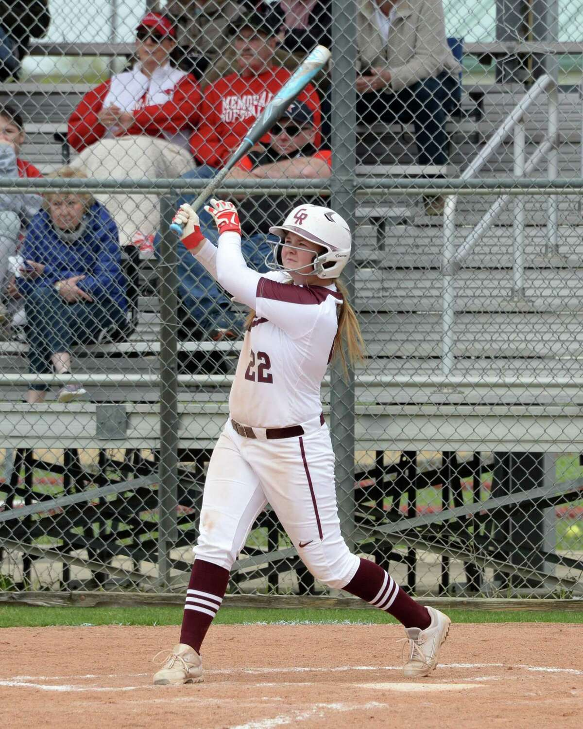 Shelby Hodge (22) of Cinco Ranch doubles during the first inning in high school softball game between the Cinco Ranch Cougars and the Memorial Mustangs on Saturday March 16, 2019 at Cinco Ranch High School, Katy, TX.