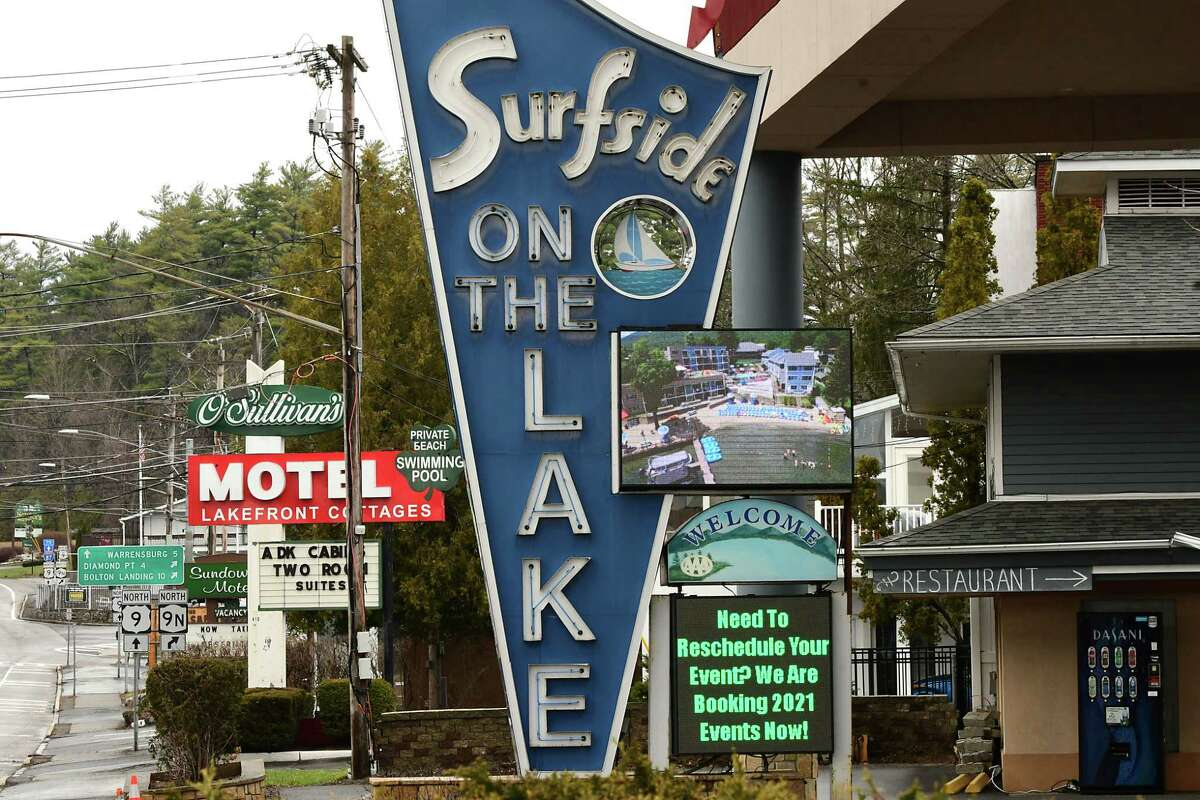 A view of motels in Lake George, N.Y. Lawmakers and industry representatives worry the sustained closure of the northern border for Canadian visitors is hurting the state's tourism industry. (Lori Van Buren/Times Union)