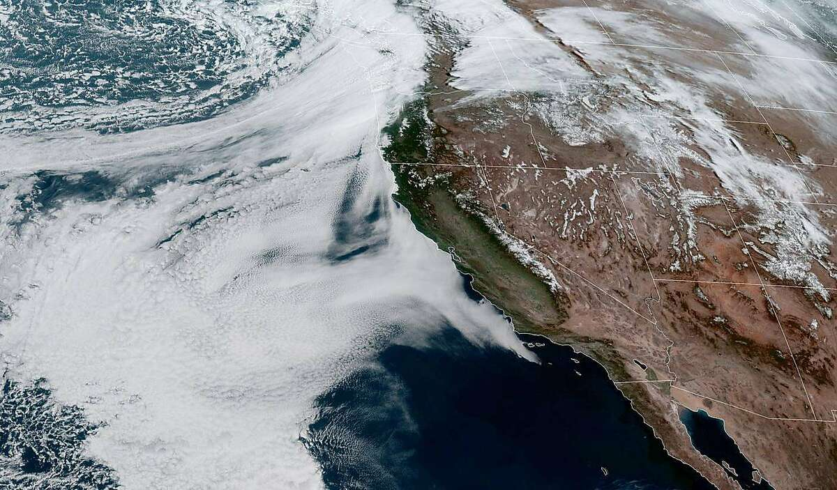 A GOES-West satellite image shows California and the Pacific Ocean on Sunday, March 28, 2021.