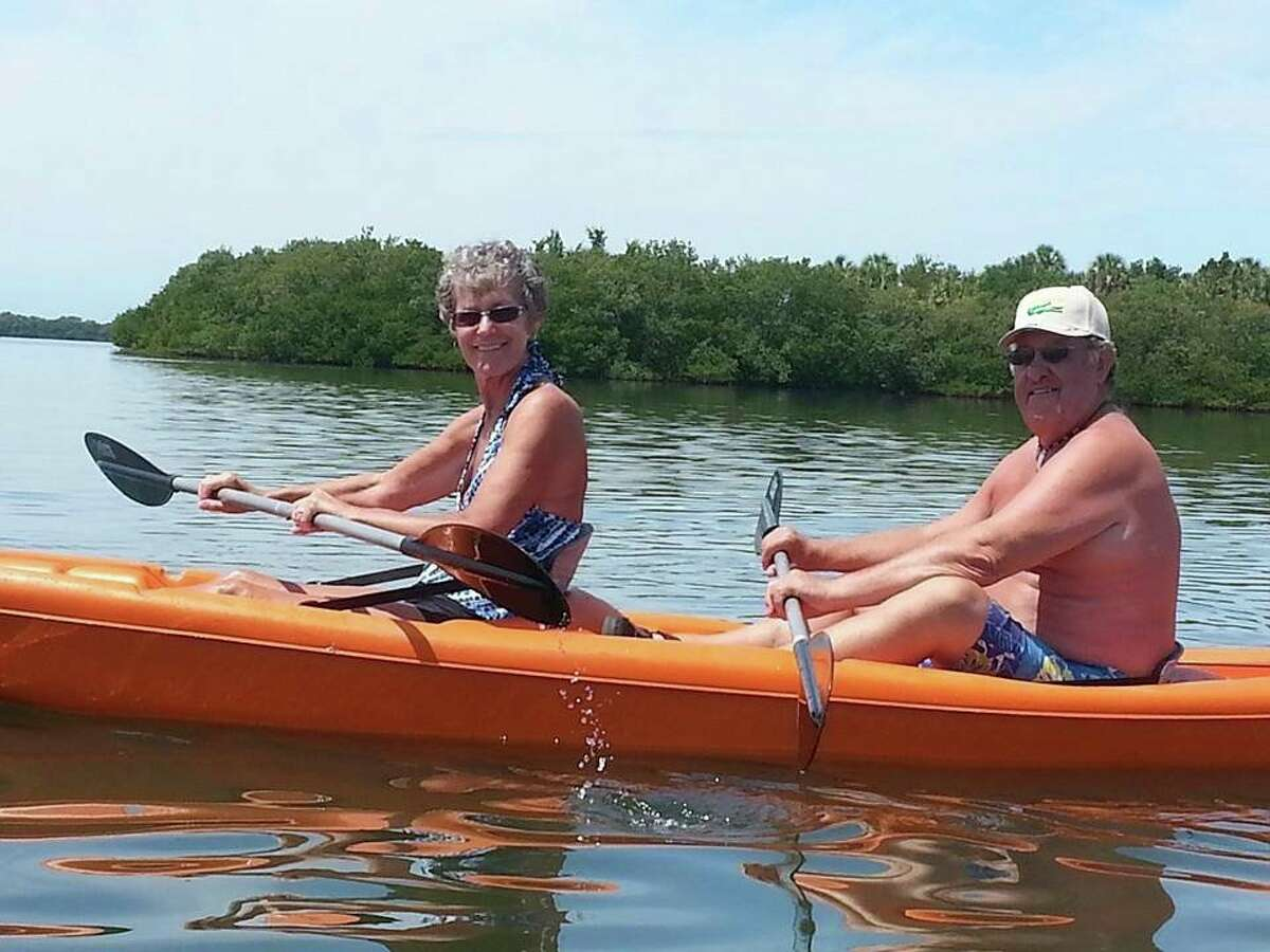 Cherie and Gale Denslow enjoy a variety of outdoor activities, including kayaking, when they are not busy volunteering at the Mecosta County Commission on Aging. (Submitted photo)
