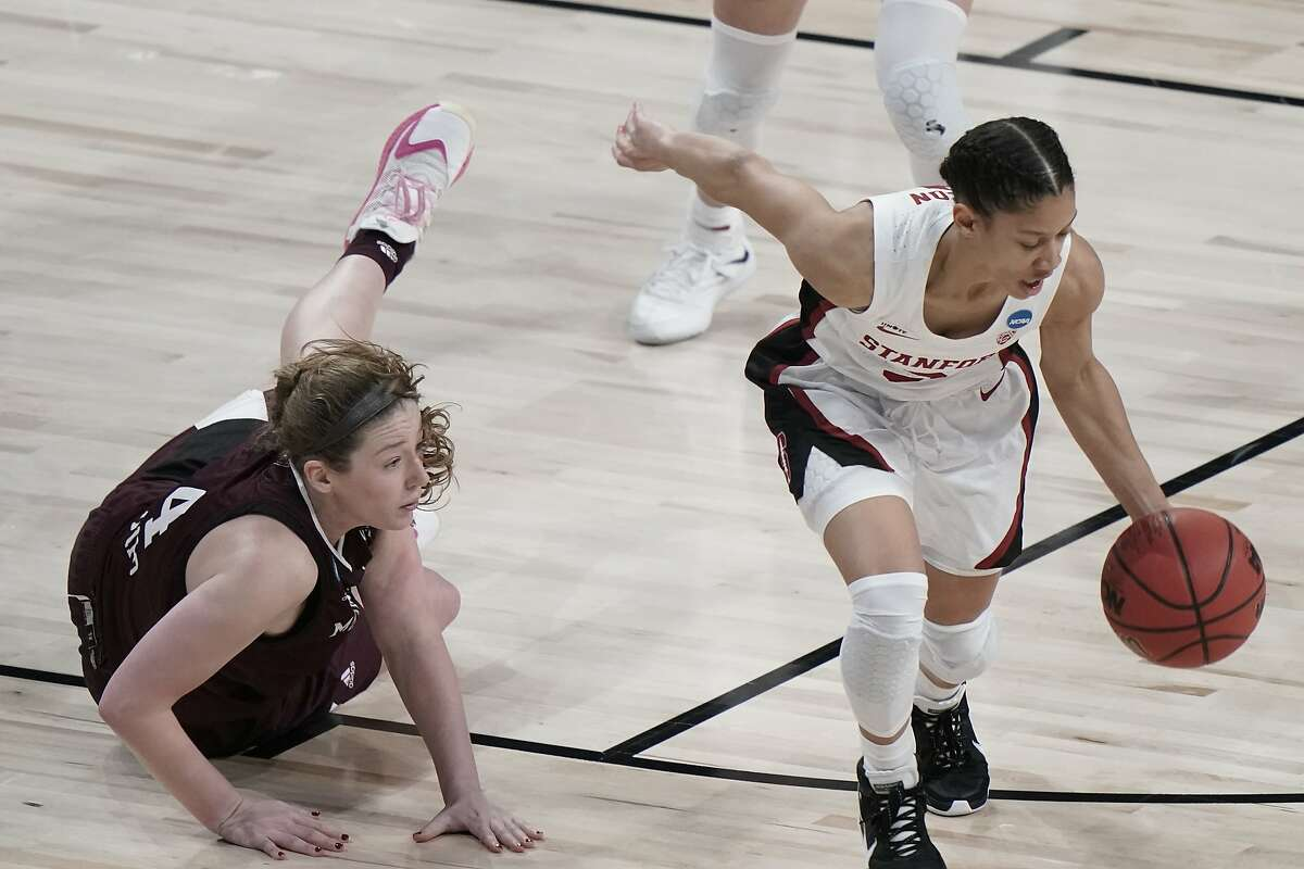 Stanford's Anna Wilson steals the ball from Missouri State's Abby Hipp during the first half of an NCAA college basketball game in the Sweet 16 round of the Women's NCAA tournament Sunday, March 28, 2021, at the Alamodome in San Antonio. (AP Photo/Morry Gash)