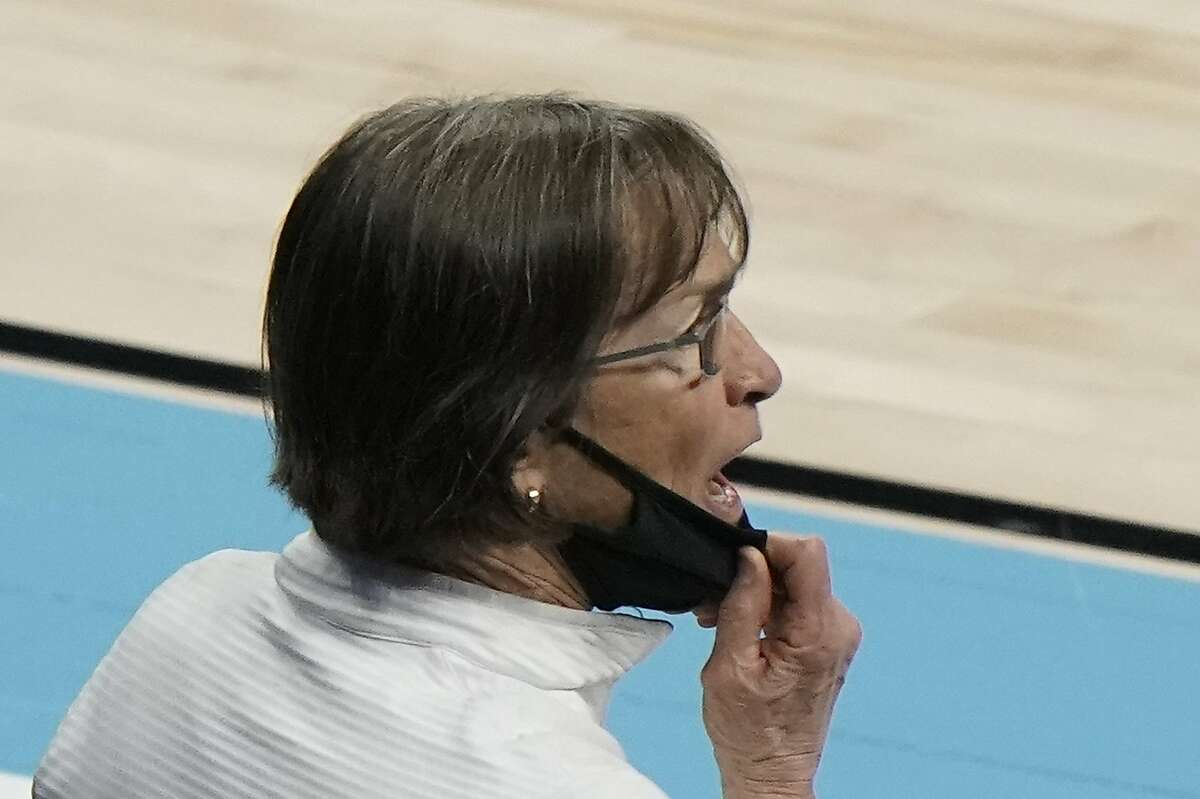 Stanford head coach Tara VanDerveer yells to her players during the second half of an NCAA college basketball game against Missouri State in the Sweet 16 round of the Women's NCAA tournament Sunday, March 28, 2021, at the Alamodome in San Antonio. (AP Photo/Morry Gash)