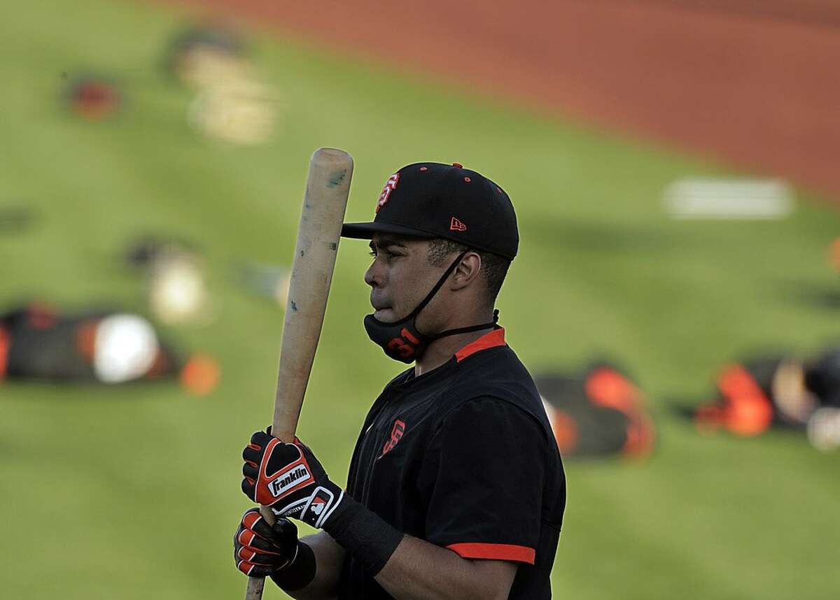 LaMonte Wade Jr. (31) during batting practice as the San Francisco Giants worked out at Scottsdale Stadium in Scottsdale, Ariz., on Tuesday, March 2, 2021.