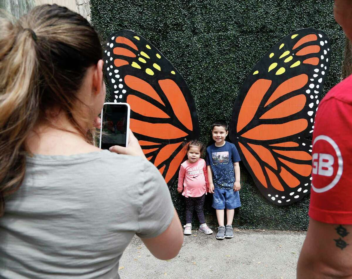 Amanda Gamboa takes a photo of her children Jaxon Gamboa, 5, and Camila Gamboa, 2, by a pair of wooden butterfly wings Sunday at the San Antonio Zoo's Monarch Fest celebration of the monarch butterfly.