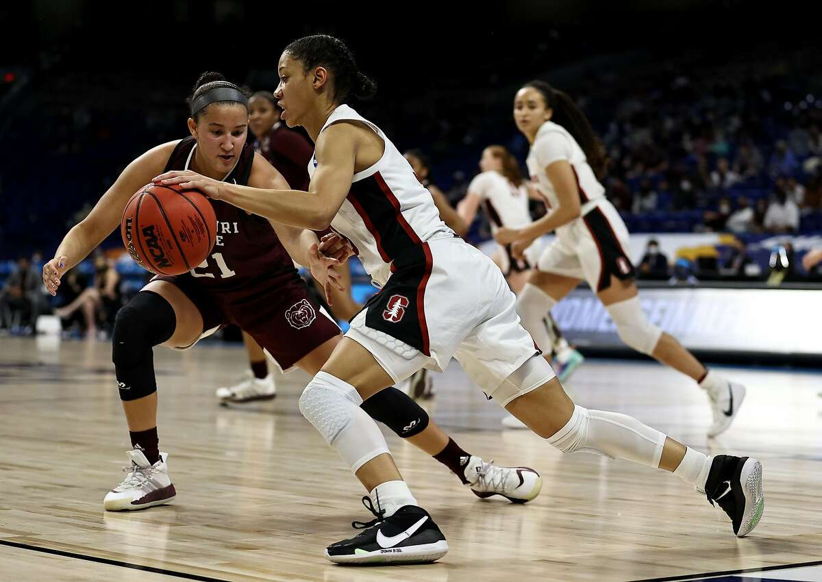Anna Wilson #3 of the Stanford Cardinal takes the ball as Sydney Wilson #21 of the Missouri State Lady Bears defends during the Sweet Sixteen round of the NCAA Women's Basketball Tournament at the Alamodome on March 28, 2021 in San Antonio, Texas.The Stanford Cardinal defeated the Missouri State Lady Bears 89-62.
