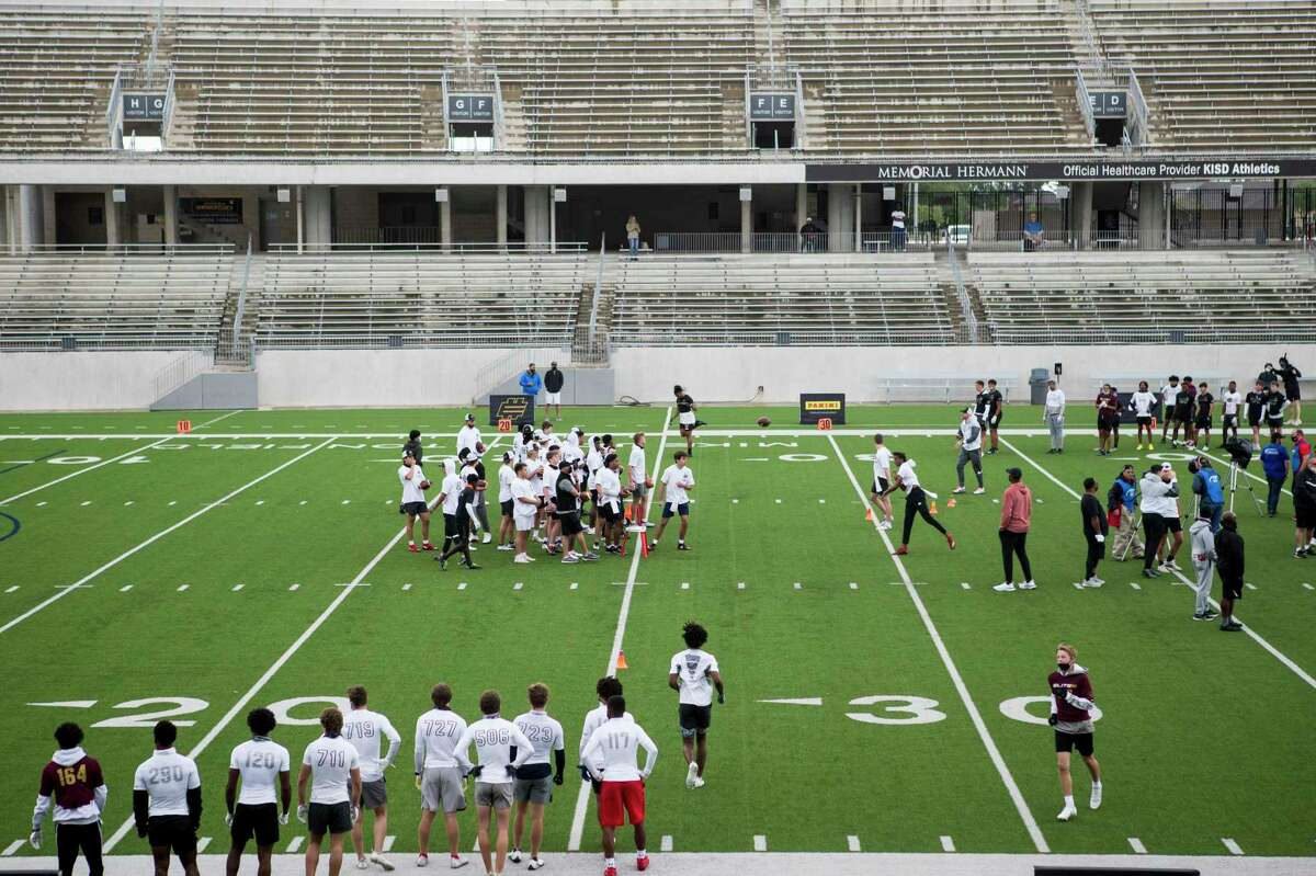 Quarterback prospects work out during the Elite 11 quarterback showcase regional at Legacy Stadium Sunday, March 28, 2021 in Katy.