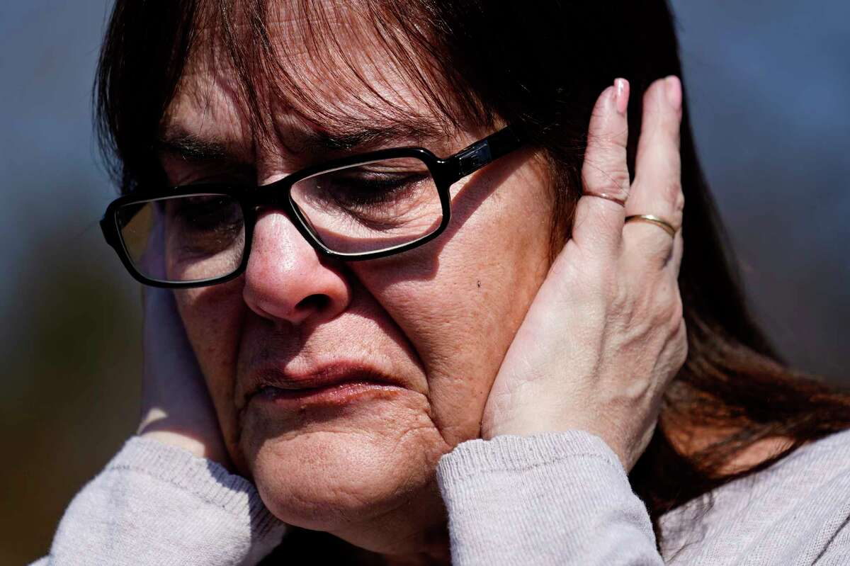 Patti Burt reacts during an interview in Cherry Hill, N.J., Wednesday, March 10, 2021. On May 26, 2020, Burt's granddaughter, 9-year-old Ava Lerario; her mother, Ashley Belson, and Ava's father, Marc Lerario, were found fatally shot inside their home.