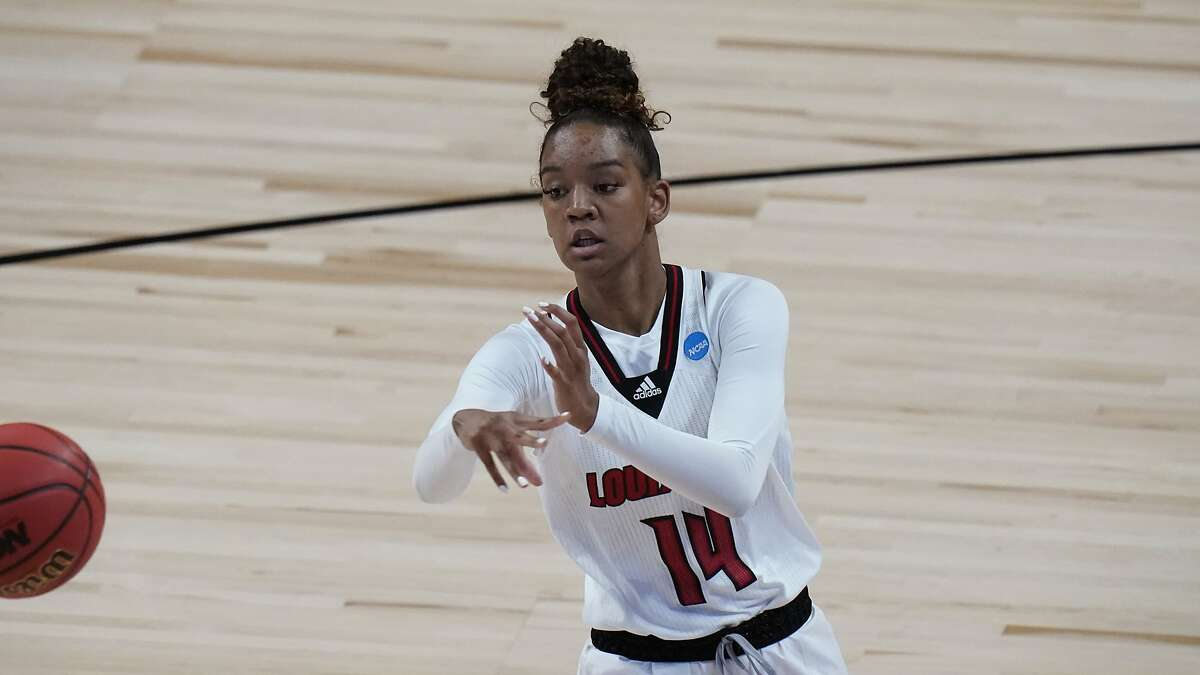 Louisville guard Kianna Smith (14) during a college basketball game against Marist in the first round of the women's NCAA tournament at the Alamodome in San Antonio, Monday, March 22, 2021.