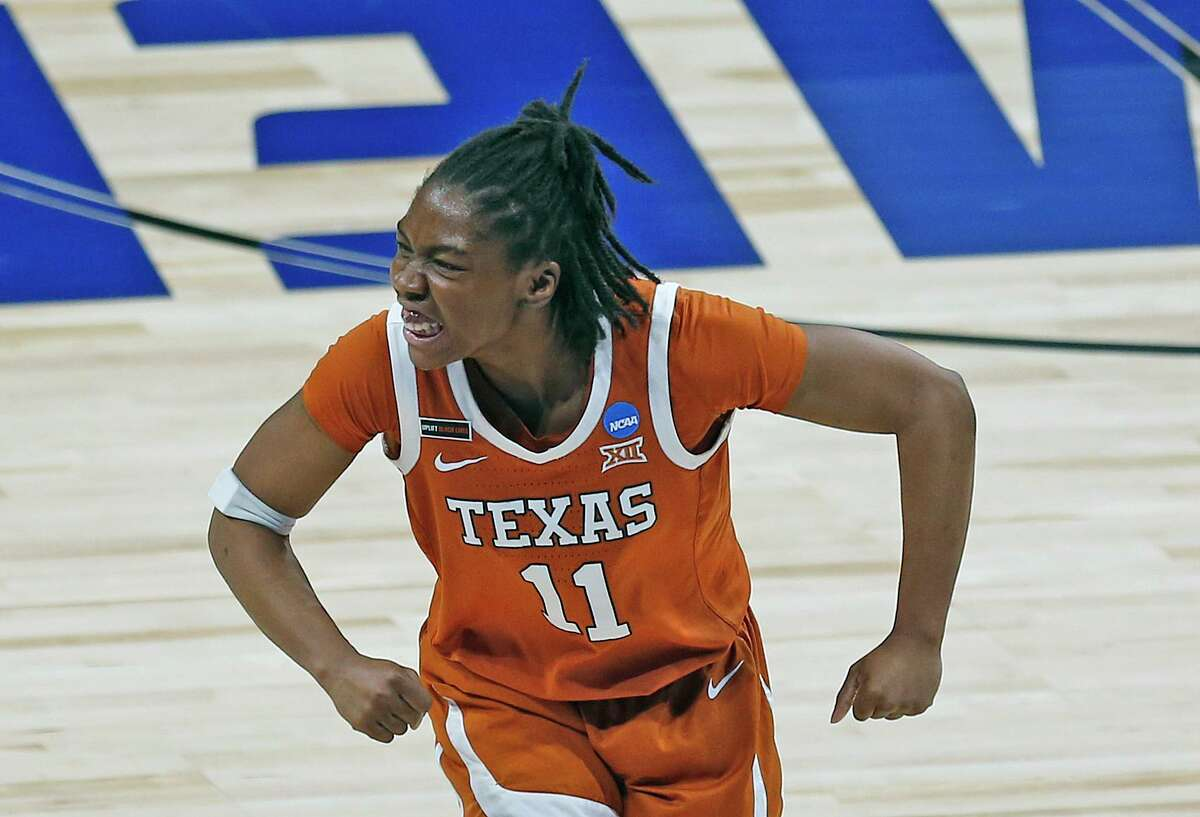 Texas guard Joanne Allen-Taylor (11) reacts after causing a turnover on Maryland in the first half on Sunday, March 28, 2021 at the Alamodome.