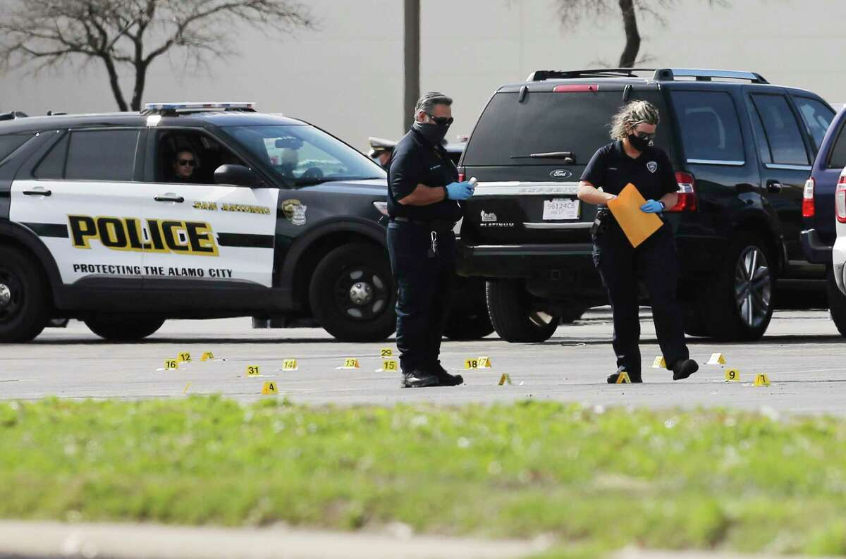 San Antonio Police Department investigate the scene of a fatal shooting between a suspect and SAPD officers on the grounds of South Park Mall on Wednesday, Jan. 27, 2021. San Antonio was among 14 area cities that experienced an increase in crime in 2020.