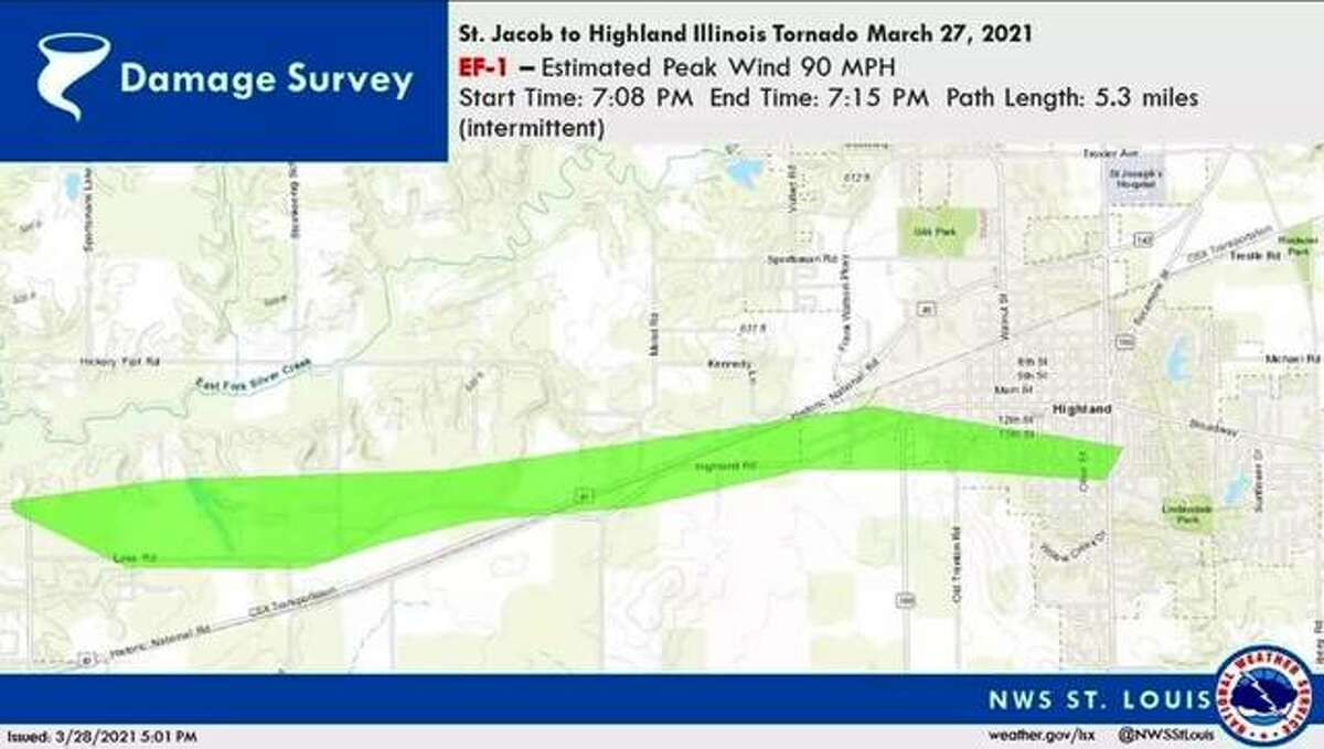 This National Weather Service graphic illustrates the path of a Saturday night tornado between St. Jacob and Highland. No injuries have been reported.