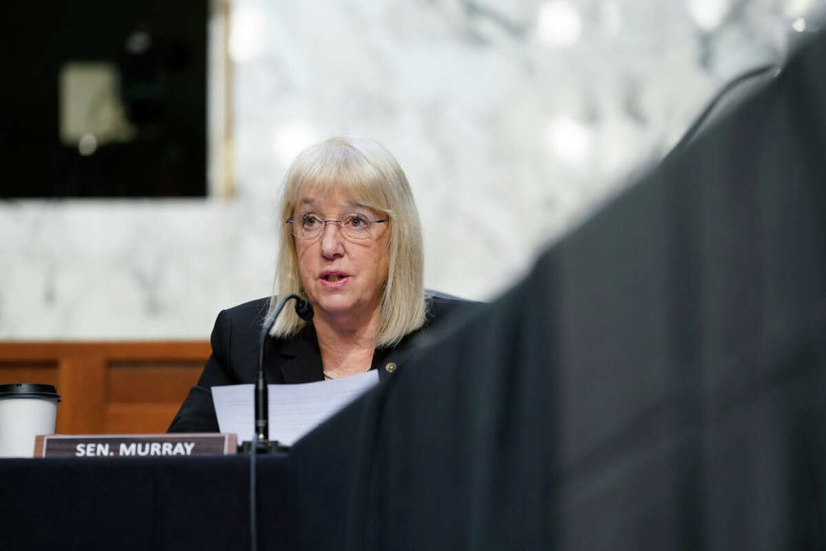 WASHINGTON, DC - MARCH 18: Sen. Patty Murray (D-WA) speaks during a Senate Health, Education, Labor and Pensions Committee hearing on the federal coronavirus response on Capitol Hill on March 18, 2021 in Washington, DC. (Photo by Susan Walsh-Pool/Getty Images)