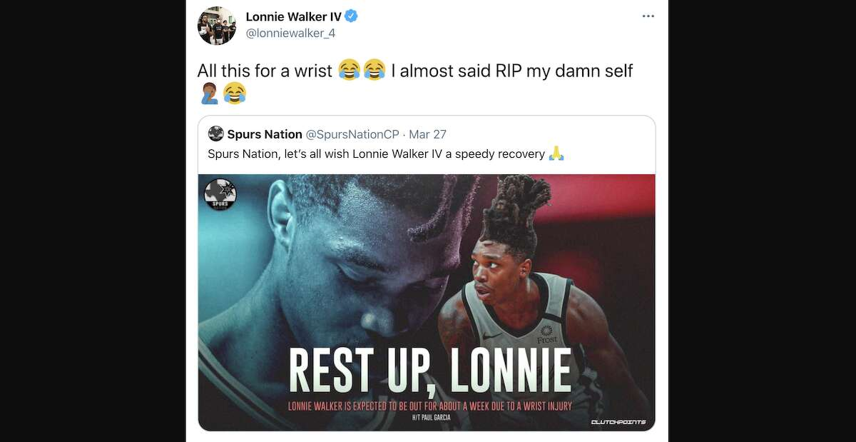 Lonnie Walker IV was quick to laugh about how seriously a Spurs fan account took his wrist injury.