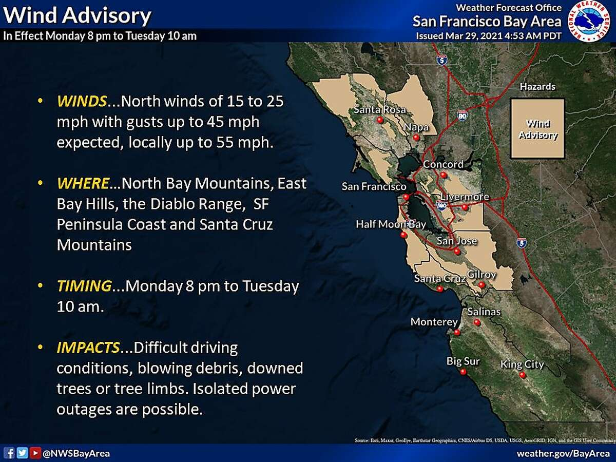 A wind advisory has been issued for the Bay Area hills, the North Bay and Santa Cruz mountains, and the San Mateo coast from Monday night Tuesday morning.