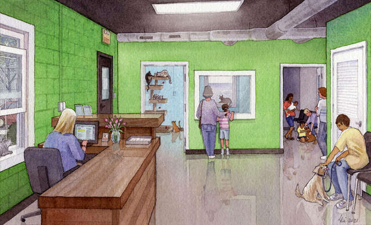 An artist's rendering illustrates the planned renovation of the Metro East Humane Society's facility in Highland.