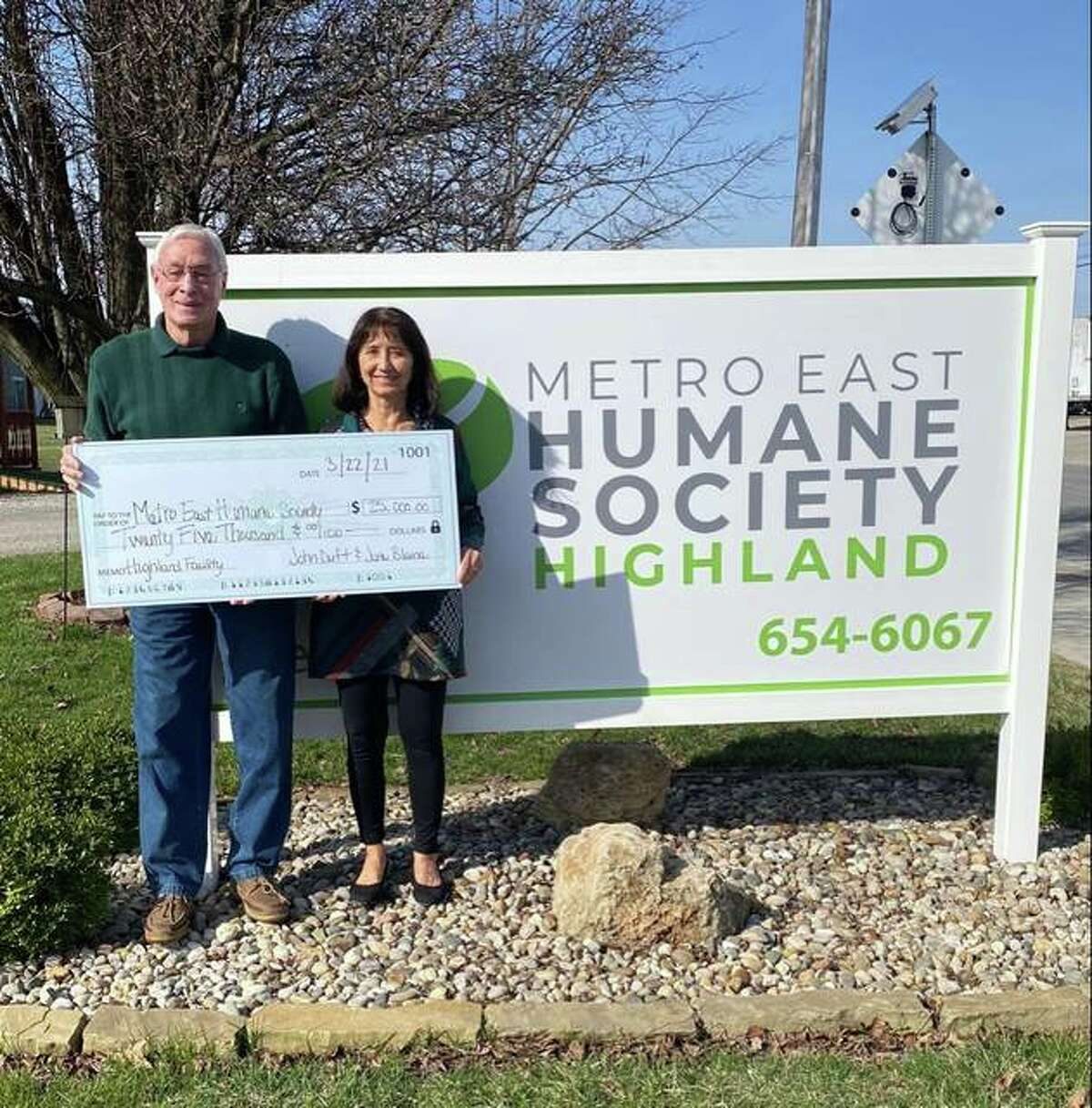 John Duft and June Blaine of Highland kickstarted the Metro East Humane Society's $175,000 capital campaign for its Highland and Edwardsville facilities. Purina also has donated $10,000 to the campaign.