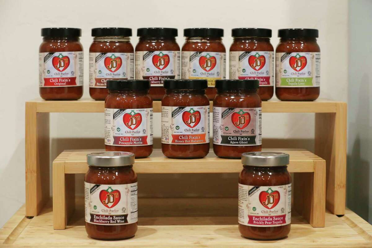 An array of chili mixes is displayed at the JD's Chili Parlor kitchen in the Local Sprout Food Hub that are sold online and at area farmers markets.